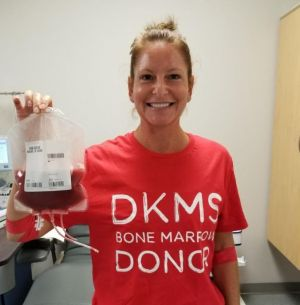 Kerry holding her bone marrow bag